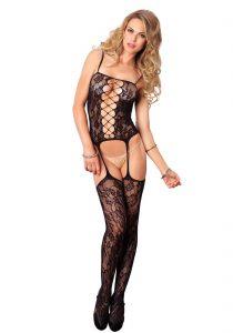 Leg Avenue - Blonde catsuit med hofteholder & strømper